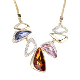 classic geometric crystal pendant necklace for women