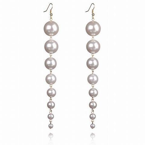 elegant long simulated pearl drop earrings for women
