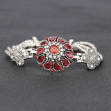 silver color crystal flower cuff bracelet for women