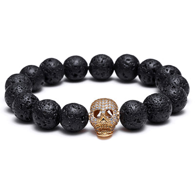 cool lava stone & cz skull charm bracelet for men