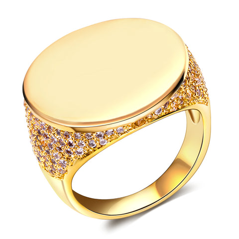 luxury flat head cubic zircon gold color ring for men
