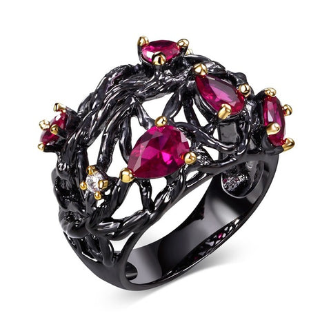 gothic black color red cz crystal hollow ring for women