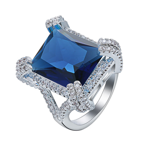 luxury silver plated big blue crystal & cz ring for women