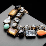 antique gold color rhinestone crystal charm bracelet for women