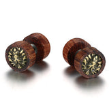 punk style brown wood lion stud earrings for men
