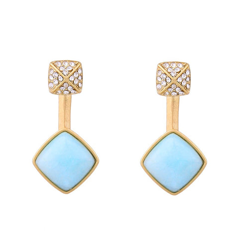 vintage dual use synthetic stone drop earrings for women