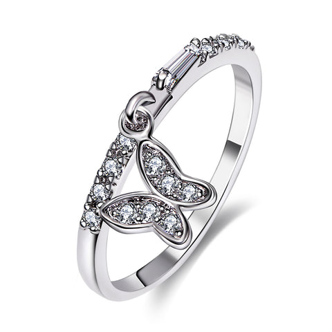 silver color crystal butterfly ring for women