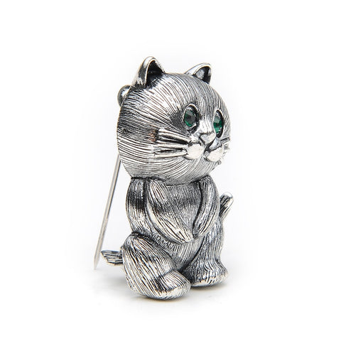 cute silver color cat on two metal brooch pin jewelry