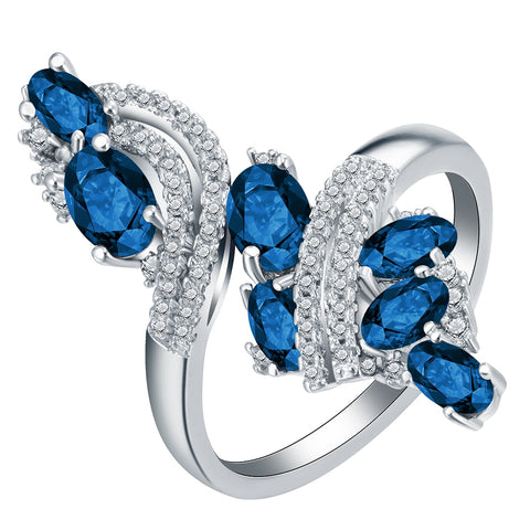 elegant royal blue & white cz crystal zircon ring for women