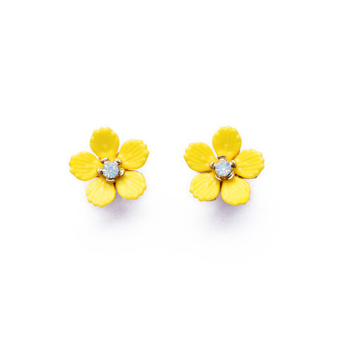 elegant resin yellow flower stud earrings for women