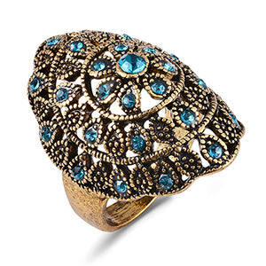 vintage ancient gold color blue cz crystal hollow ring for women