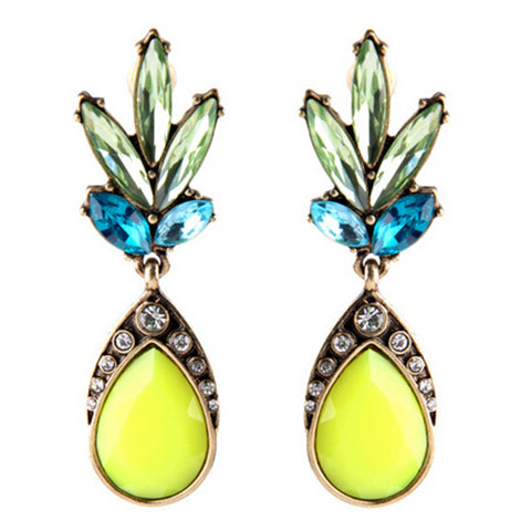 elegant yellow crystal flower pendant earrings for women