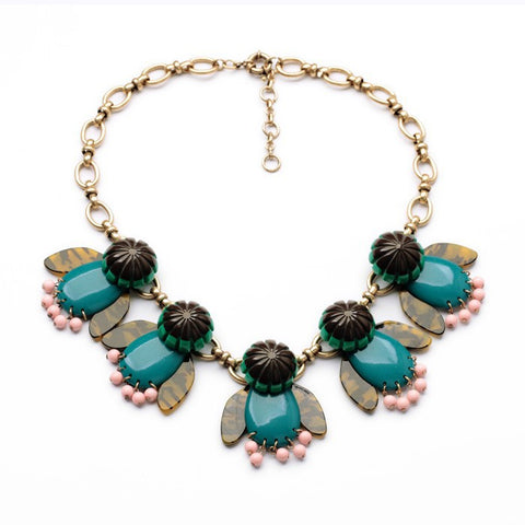 luxury resin stone pendant choker statement necklace for women