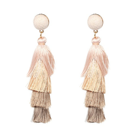 elegant coton tassel drop earrings for women