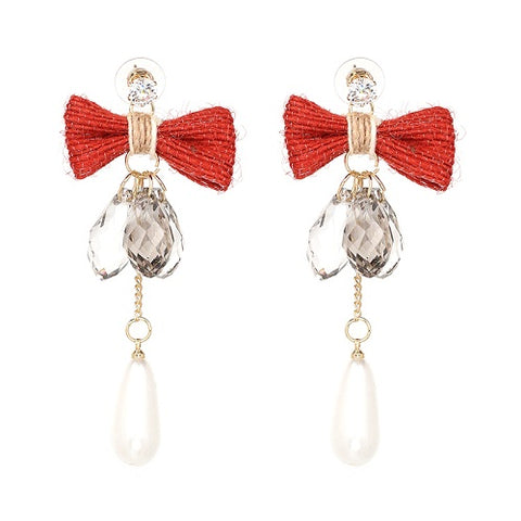 elegant bowknot beads tassel crystal earrings for women