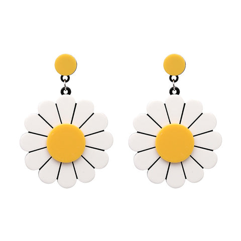 cute sun flower dangle drop earrings for women