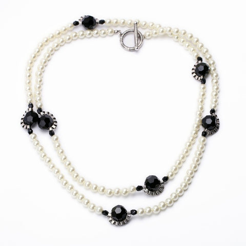 luxury simulated pearls long necklace for women