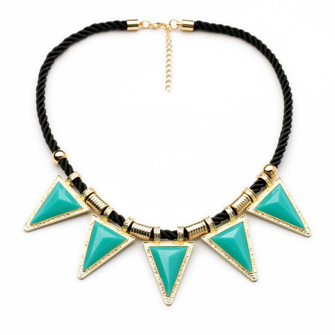 punk resin stone triangle pendant statement necklace for women