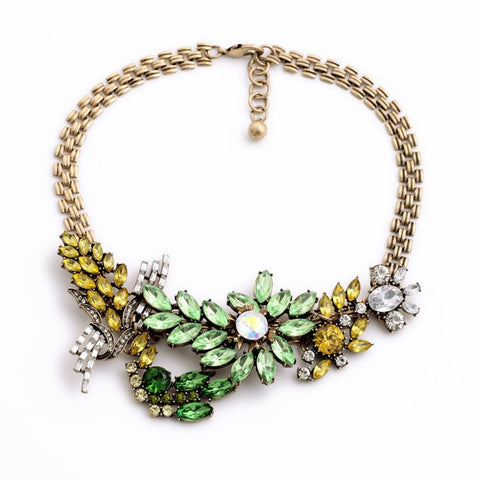 charming flowers rhinestone statement necklace for women
