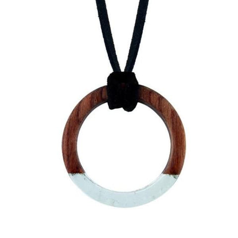 trendy wood & acrylic combination round pendant necklace
