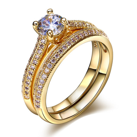 luxury cz crystal gold color ring set for women