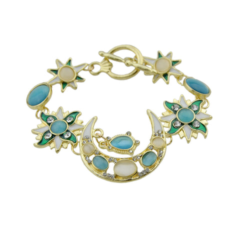 green rhinestone moon charm chain bracelet for women