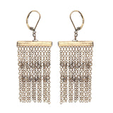 punk style golden chains tassel long drop earrings for women