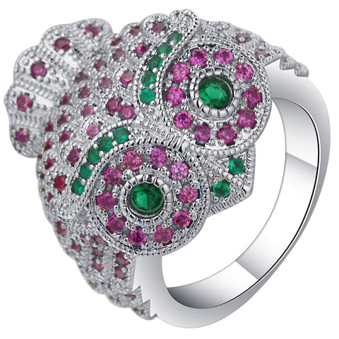 cute colorful zircon crystal owl shape ring for women