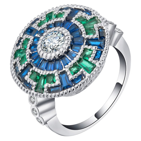luxury colorful cubic zircon large round ring for women
