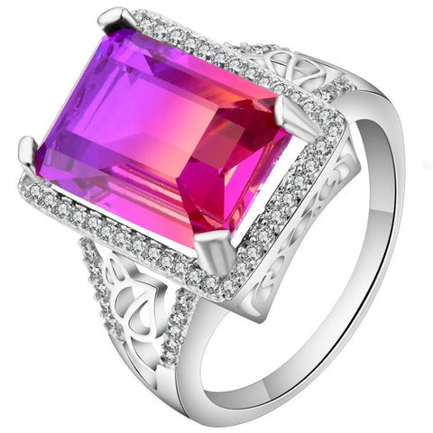 luxury rainbow color crystal silver color ring for women