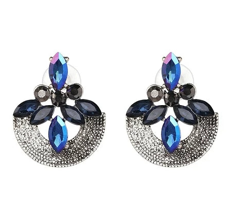elegant colorful crystal round earrings for women