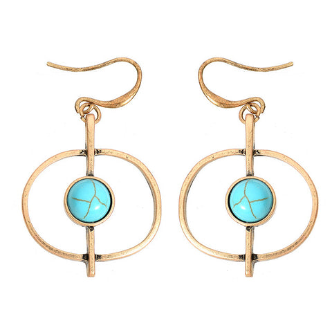 gold/silver round blue stone dangle earrings for women