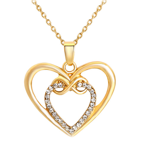 elegant double heart cubic zircon necklace & pendant for women