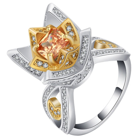 luxury cz zircon crystal flower shape ring for women