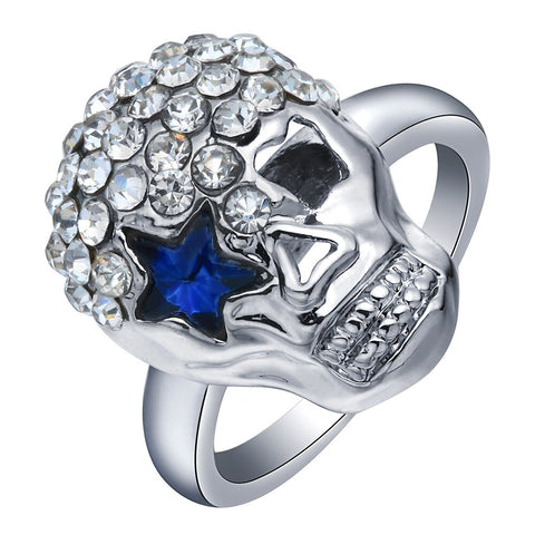 cool zircon crystal paved skull shape ring for women