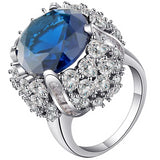 luxury silver color full cz crystal flower shape ring for women