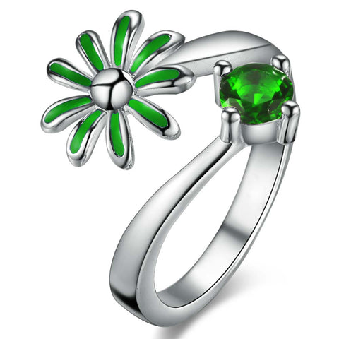trendy colorful crystal flower shape ring for women