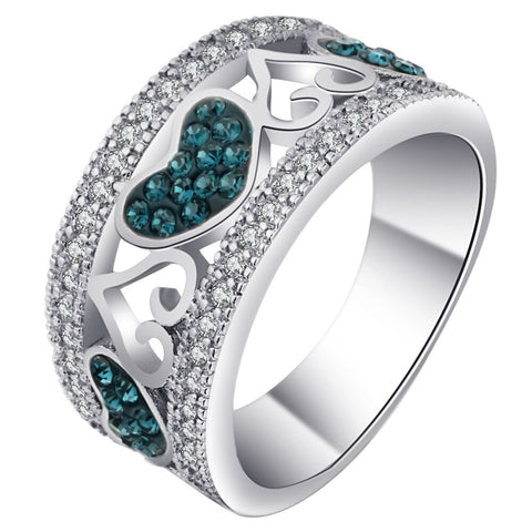 trendy sliver color blue cz crystal heart hollow ring for women