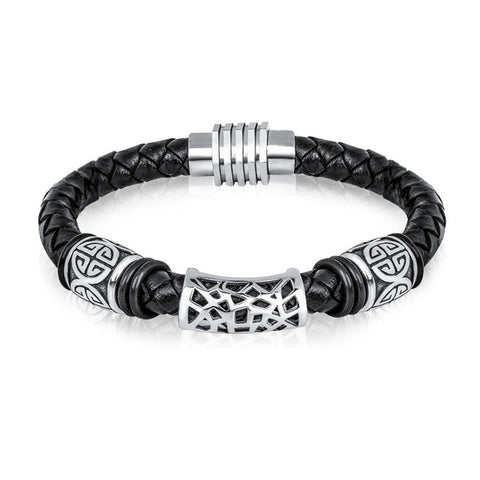 stainless steel buckle black cuff braided leather bracelet for men