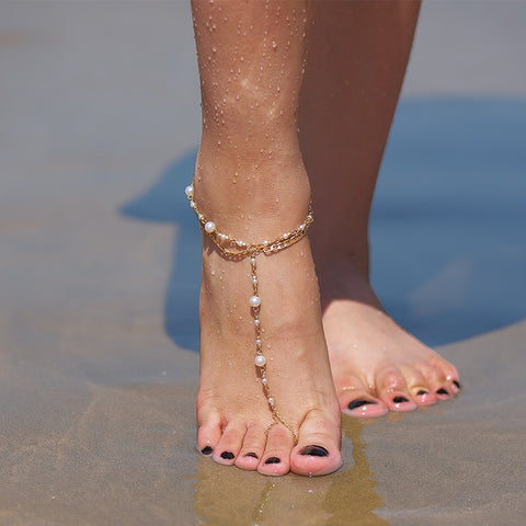 trendy double layer simulated pearl beaded chain anklet