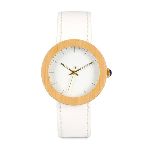 trendy bamboo wood genuine leather band watch for women
