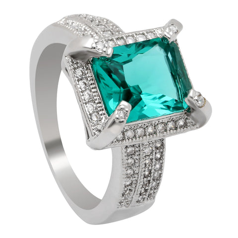 luxury silver plated green square zircon ring for women