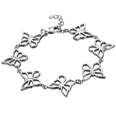hollow silver color butterfly charm bracelet for women