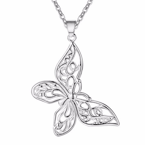 silver color hollow butterfly pendant necklace for women