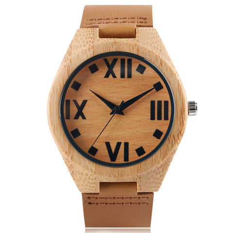trendy bamboo wood roman numbers dial analog quartz watch