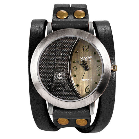 punk style eiffel tower pattern wide leather band wrist watch