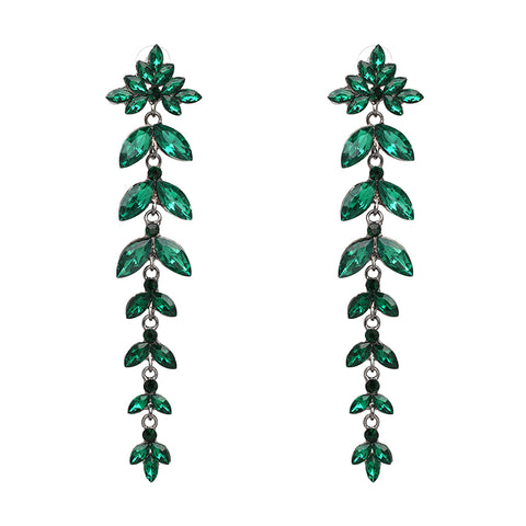 luxury shiny crystal leaf shape long drop earrings for women