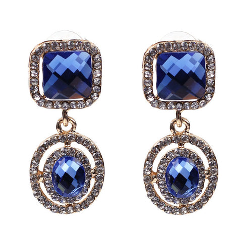 luxury square crystal statement earrings for women