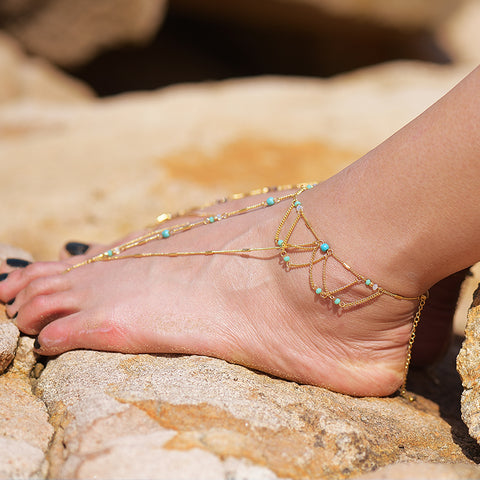 bohemian stone beaded gold color tassel anklet for women