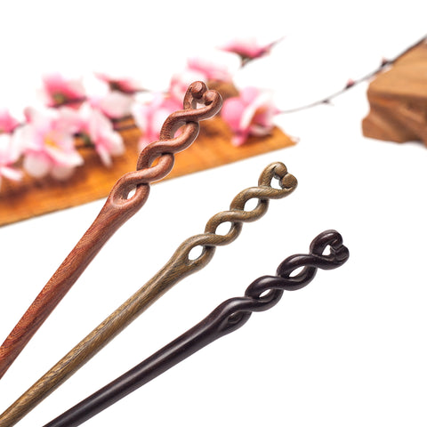 chinese style spiral hand carved sandalwood hair stick for women